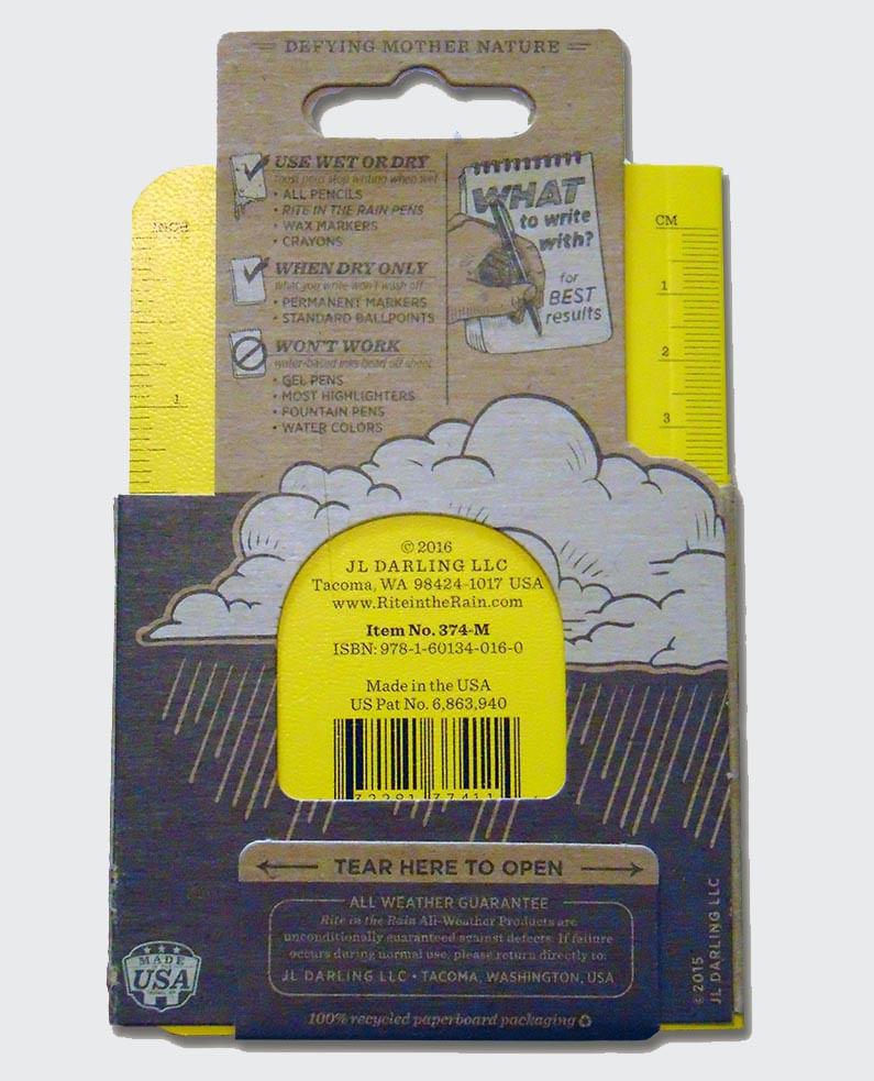 Rite in the Rain Memo Notebook packaging recycles