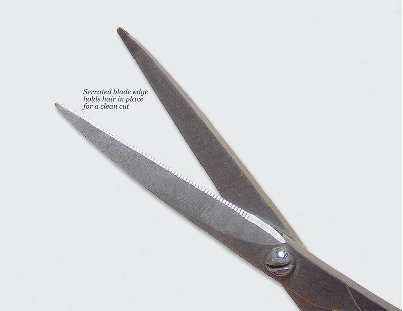 Seki-Edge-Moustache-Scissors feature serrated edges to grip your cutting
