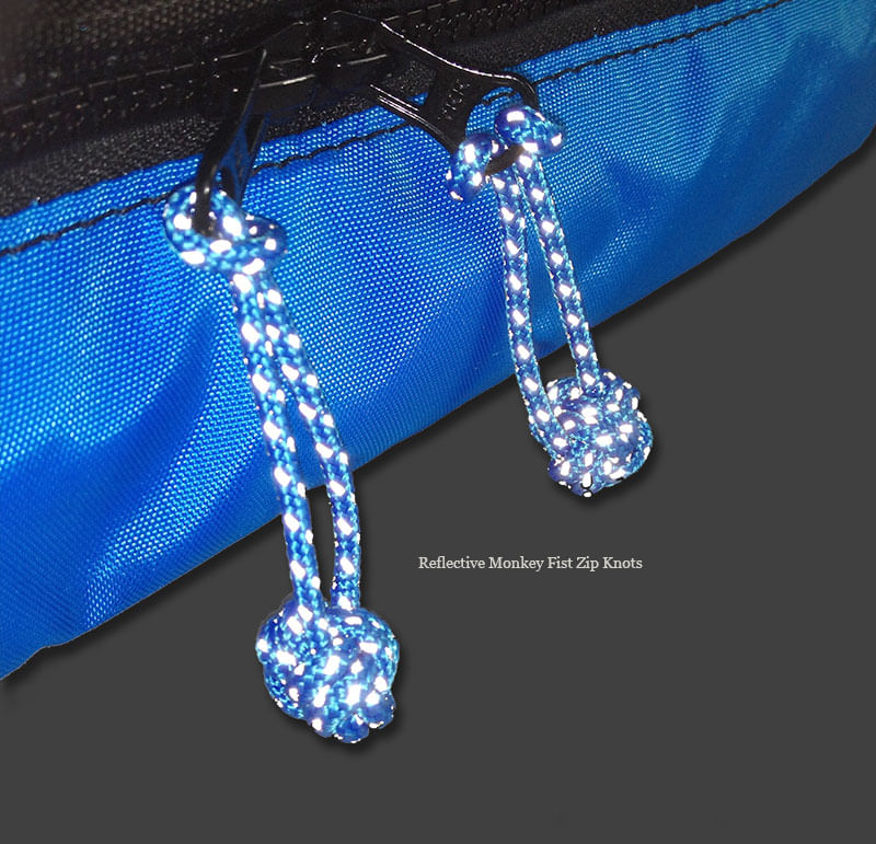 Matching reflective zip knots shine in the light