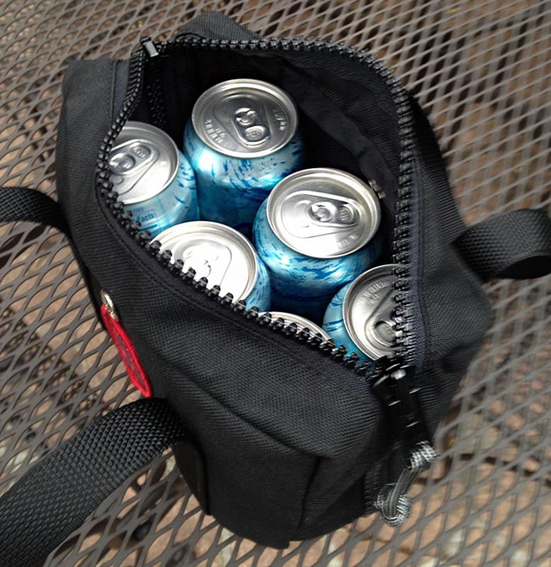 Easily holds a six pack of cans