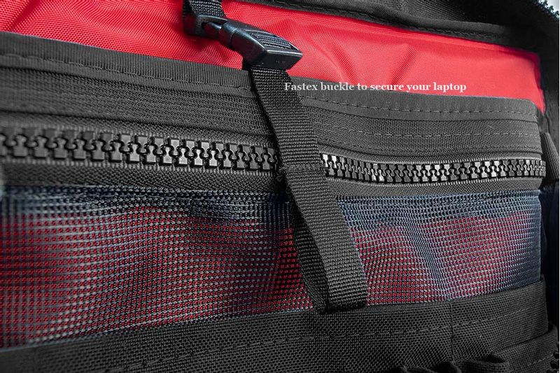Fastex buckles on interior pockets help secure your belongings