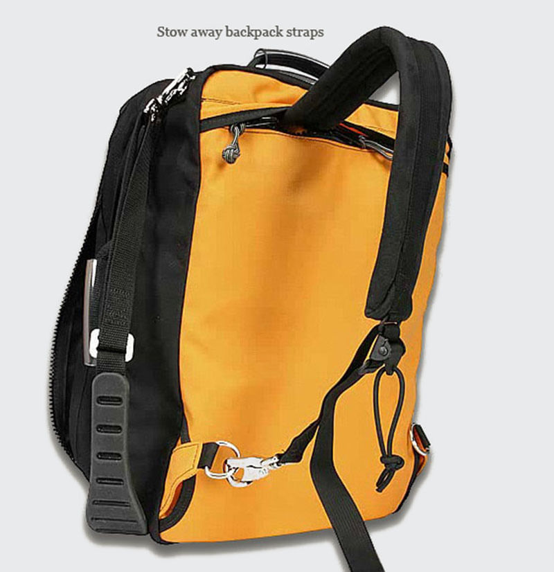Pull out hidden shoulder straps to carry a a backpack