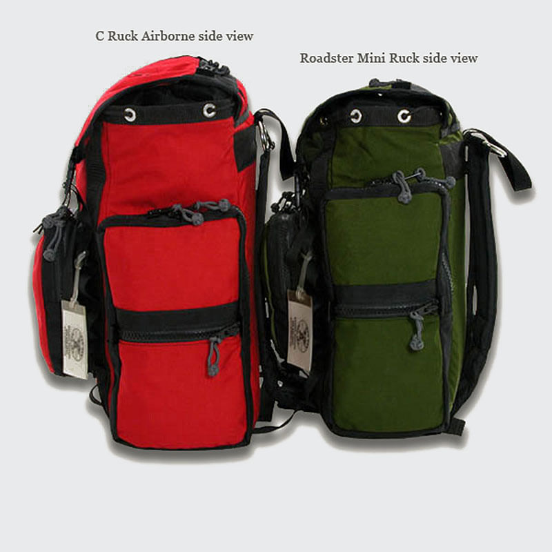 "The mini ruck is 1"" shorter, 5"" less wide, and 1"" less deep than the C-Ruck"