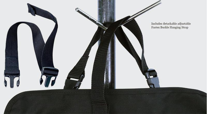 The included hanging strap clips onto the fastex buckles on the bag