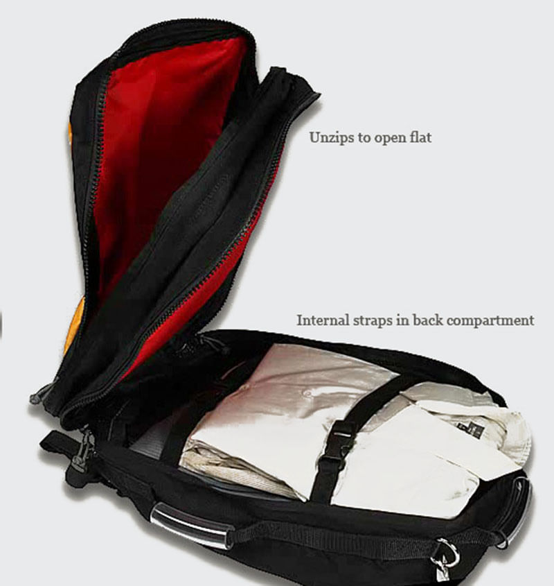 Both compartments unzip all the way open
