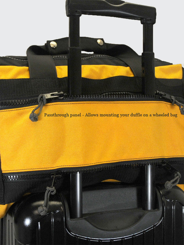 Passthrough panel allows carry on rollaboard bags