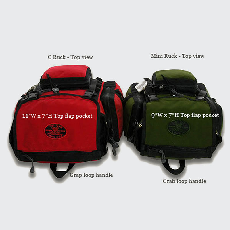 Both the mini and c-ruck have a top zippered flap