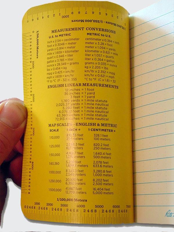 Rite in the Rain Memo Notebook includes helpful measurement charts