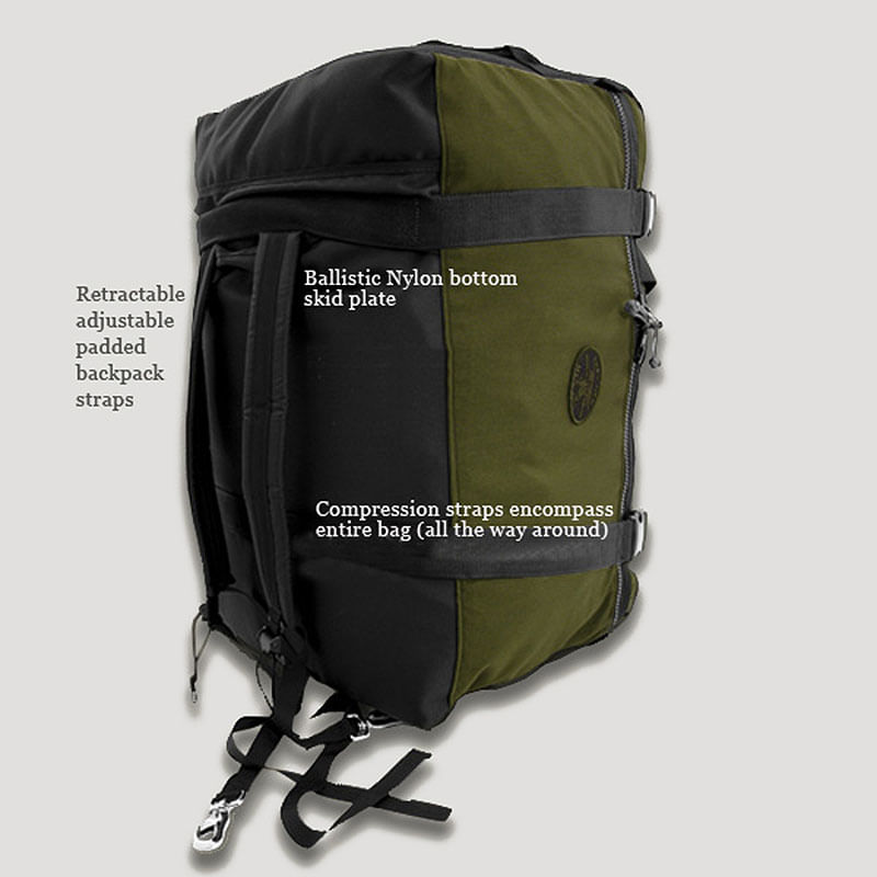 Ballistic Nylon Bottom with shoulder straps that hideaway in the smugglers pocket.