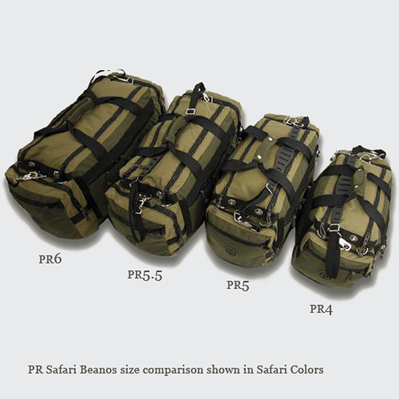 Left to right, PR6, PR5.5, PR5, PR4 Safari Beanos Duffels