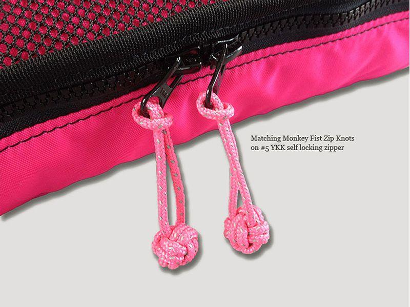 Matching reflective monkey fist zip knots with #5 YKK zippers