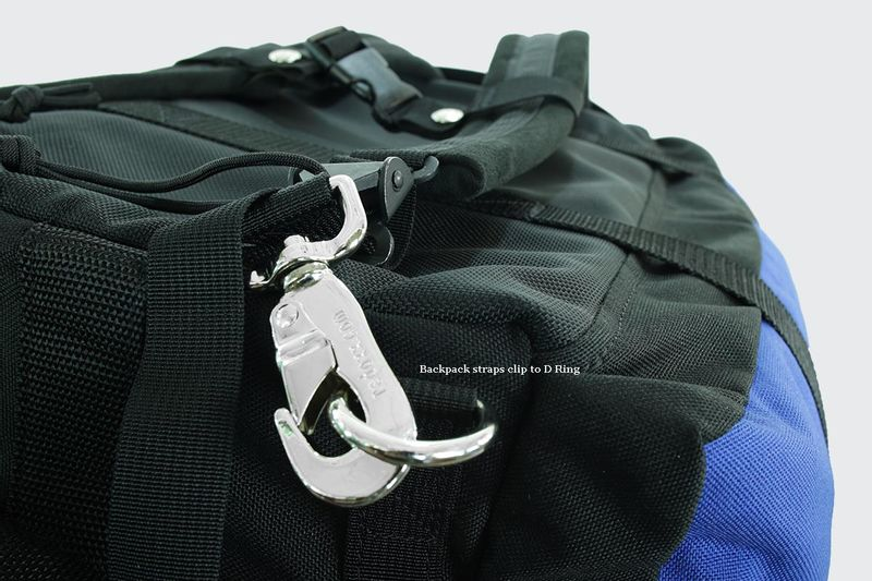 Shoulder straps connect to reinforced d-rings