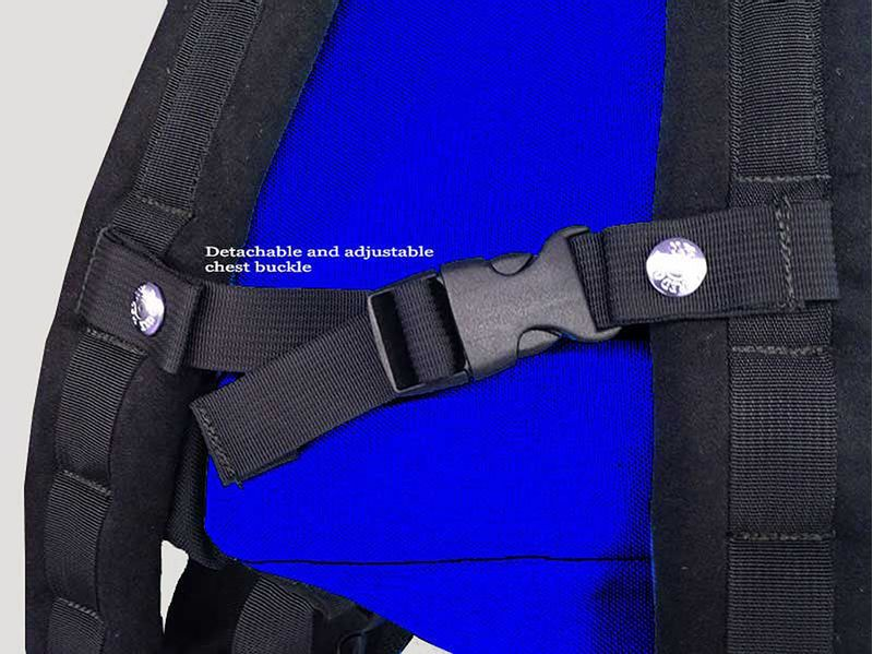 The back pack straps come with an adjustable chest strap