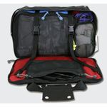 The front compartments unzips all the way and features compression straps