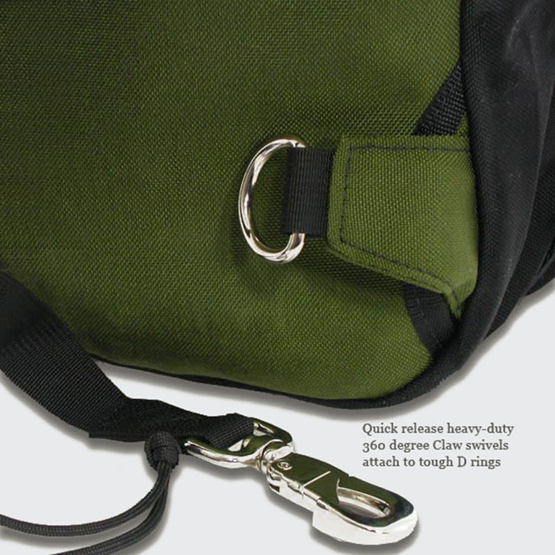 Shoulder strap swivels connect to heavy duty d-rings