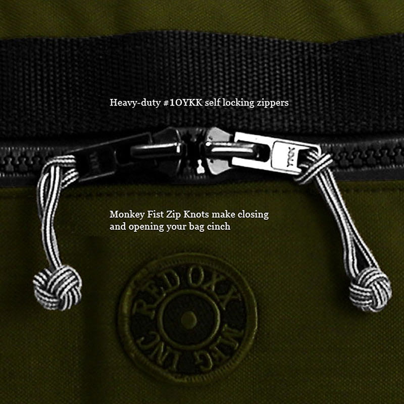 #10 Ykk zippers with monkeys fist for easy opening and closing