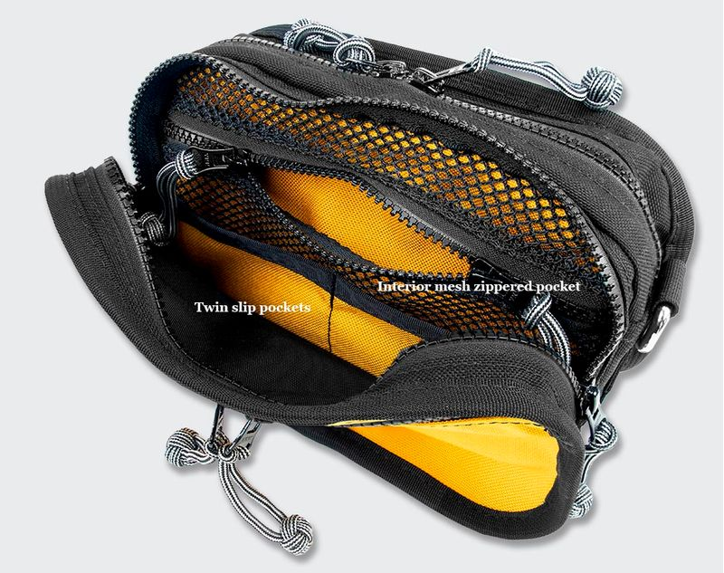 The front compartment features a mesh zipper pocket and 2 flat sleeves