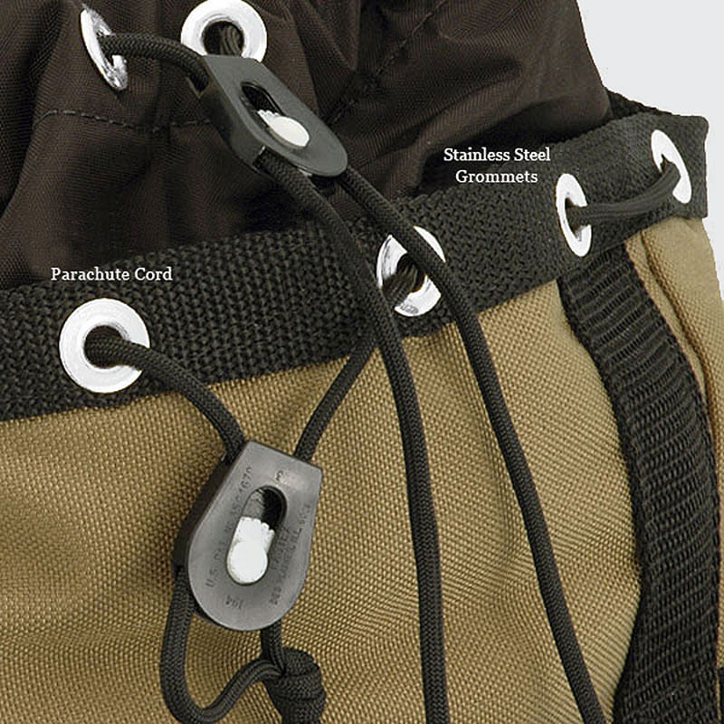 Stainless Steel grommets and parachute cord secure the skirt and top of the bag