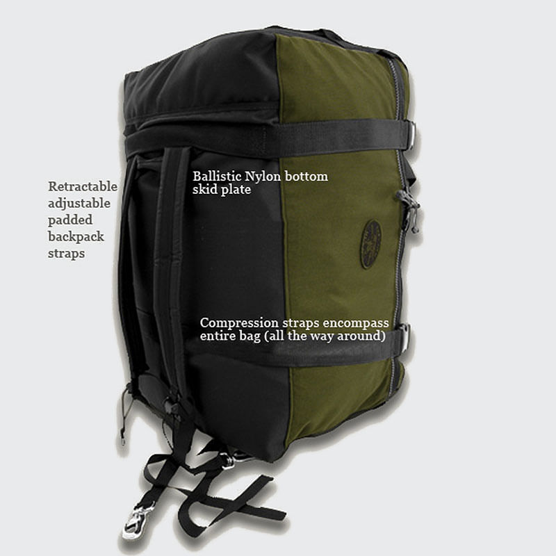 Compression straps wrap around the bag to help cinch your load