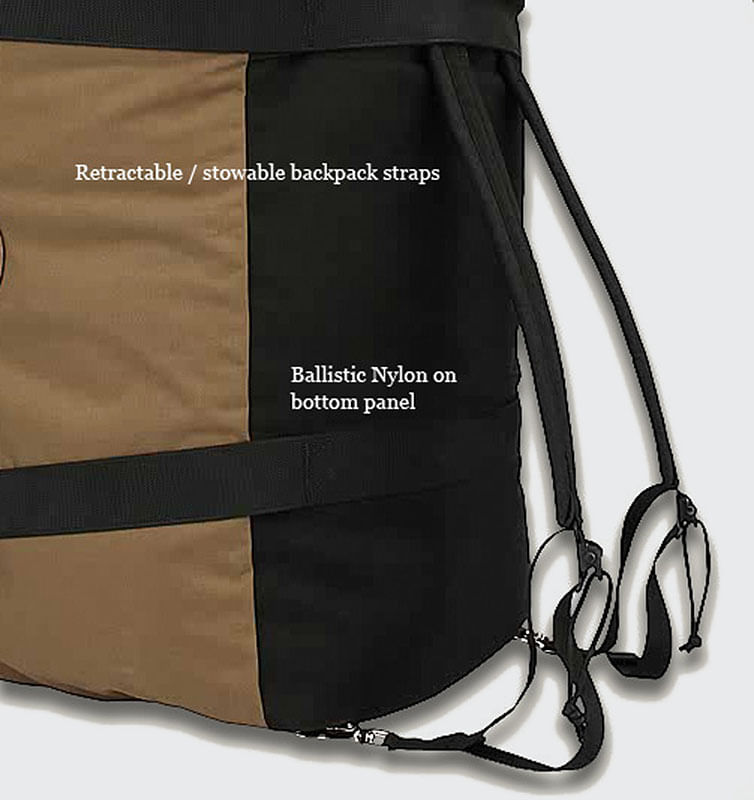 The bottom has a 1050 Ballistic Nylon smugglers pocket to hide away shoulder straps
