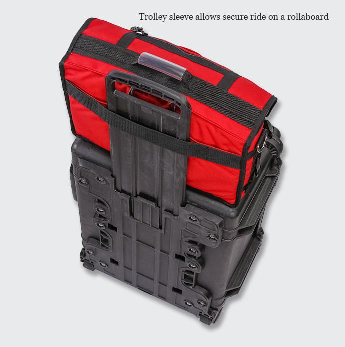 You can use the trolley sleeve on the back to slide over your wheeled luggage.