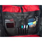 Slip pockets, zippered pockets,  and writing instrament storage on the inside