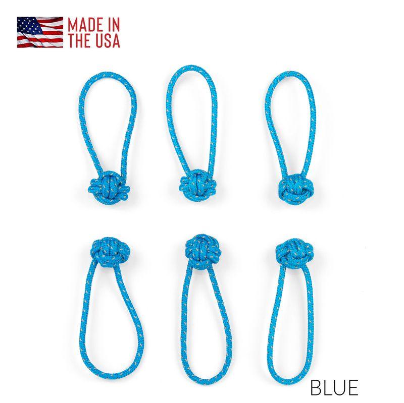 Red Oxx Light Reflective-Monkey-Fist-Zip-Knots Zipper Pulls 6 pack