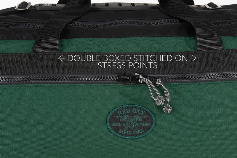Double boxed stitches on all stress points