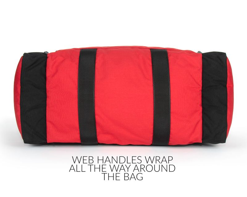 Web handles wrap all the way around the bag