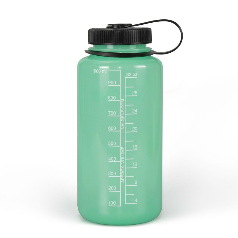 The Nalgene Green Glow Bottle can hold up to 32oz and glows in the dark!