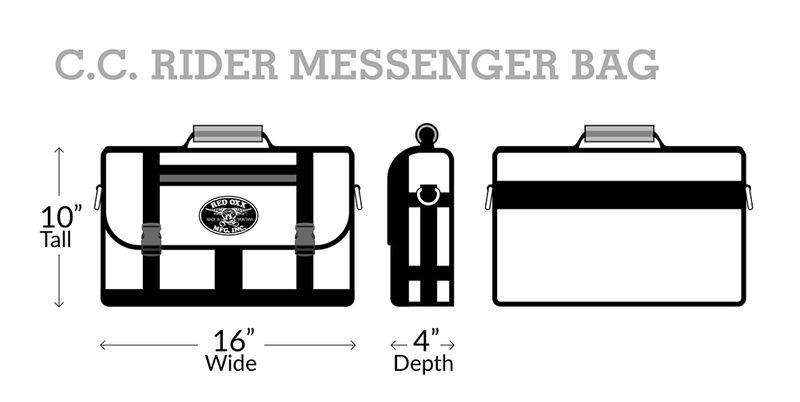 Red Oxx CC Rider Messenger Laptop Briefcase Measurements
