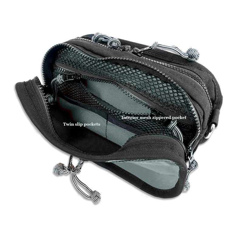 Red-Oxx-Booty-Boss-Waist-Pack--front-compartment-features-a-mesh-zipper-pocket-and-2-flat-pockets